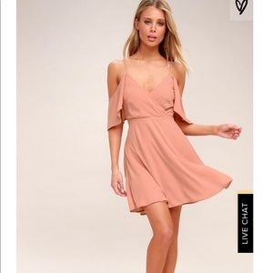 Lulus candlelight bistro blush pink skater dress